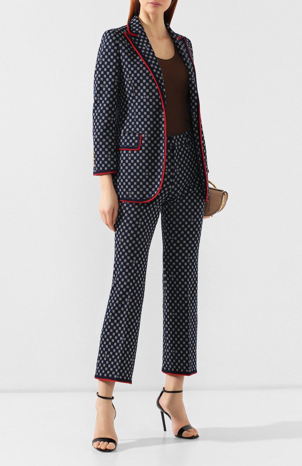 Хлопковые брюки Gucci синие | Фото №2