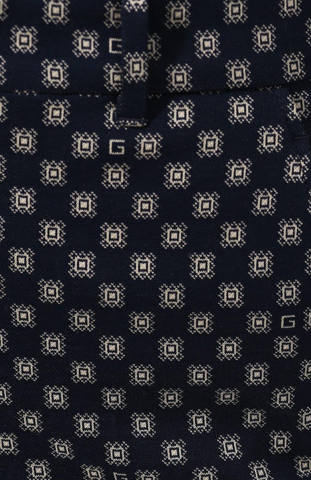 Хлопковые брюки Gucci синие | Фото №5