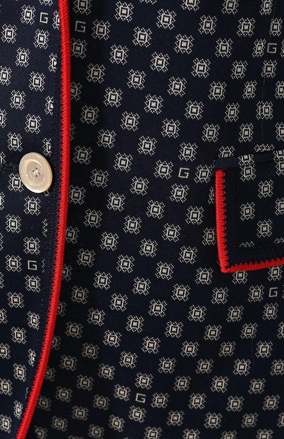 Хлопковый жакет Gucci синий   Фото №5