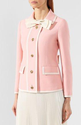 Жакет из смеси шерсти и шелка Gucci розовый | Фото №3