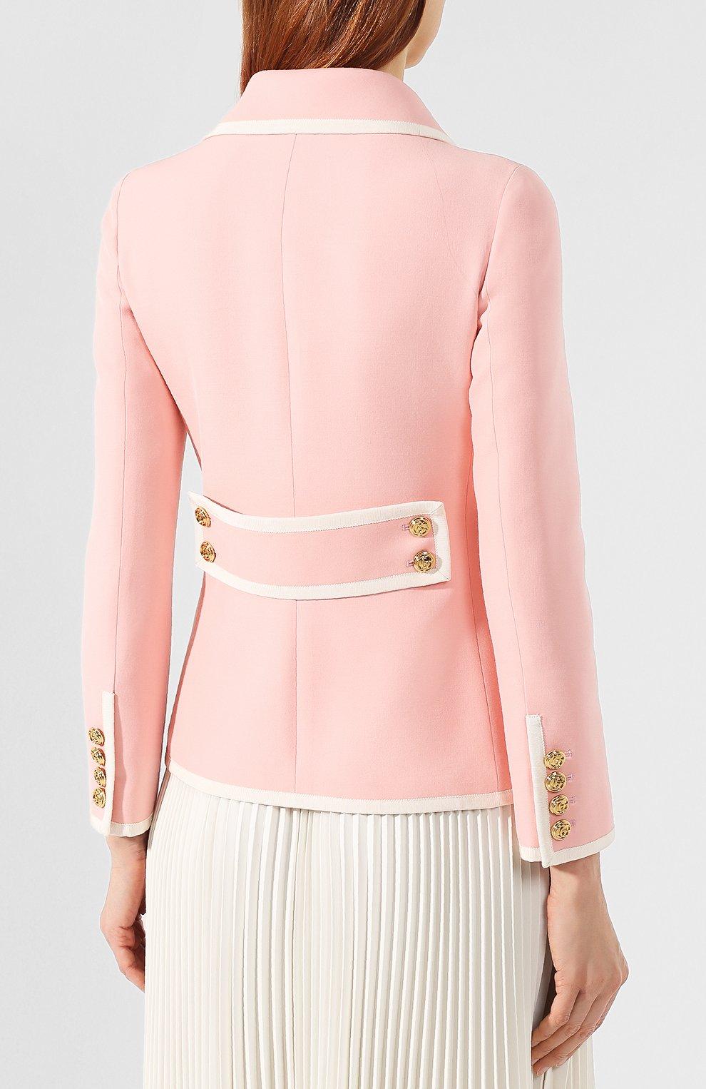 Жакет из смеси шерсти и шелка Gucci розовый | Фото №4