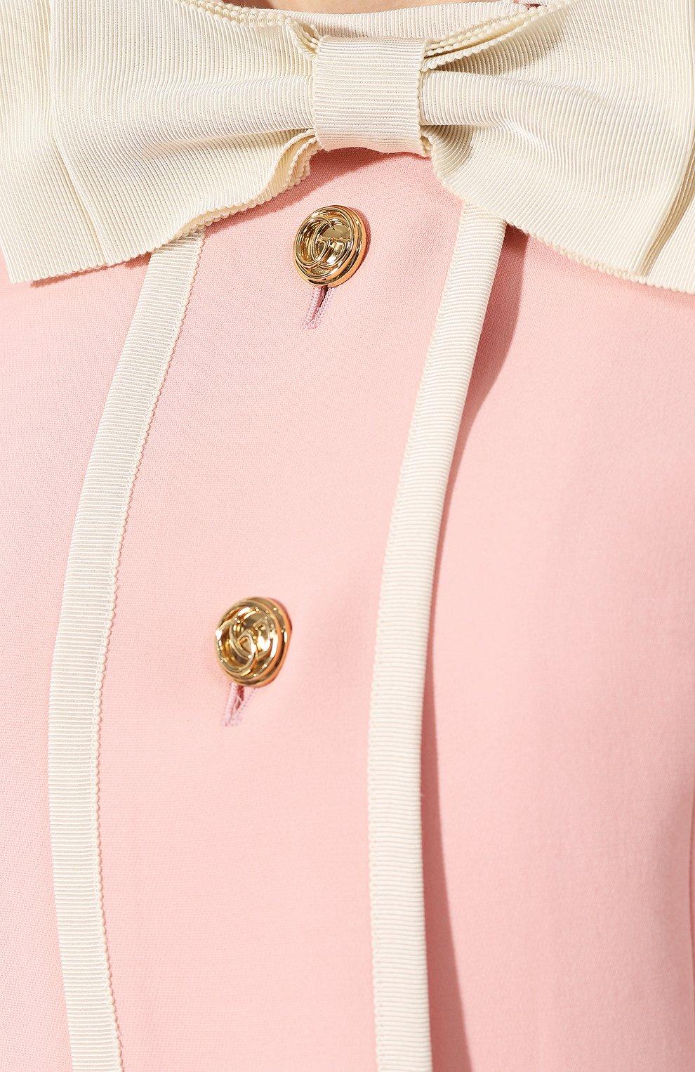 Жакет из смеси шерсти и шелка Gucci розовый | Фото №5