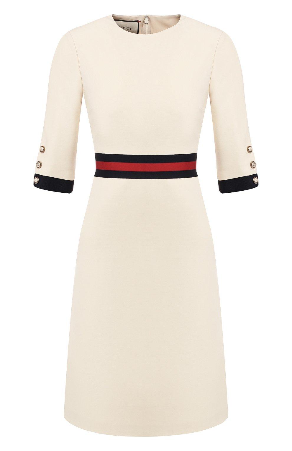 Платье из смеси шерсти и шелка Gucci белое | Фото №1