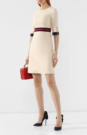 Платье из смеси шерсти и шелка Gucci белое | Фото №2