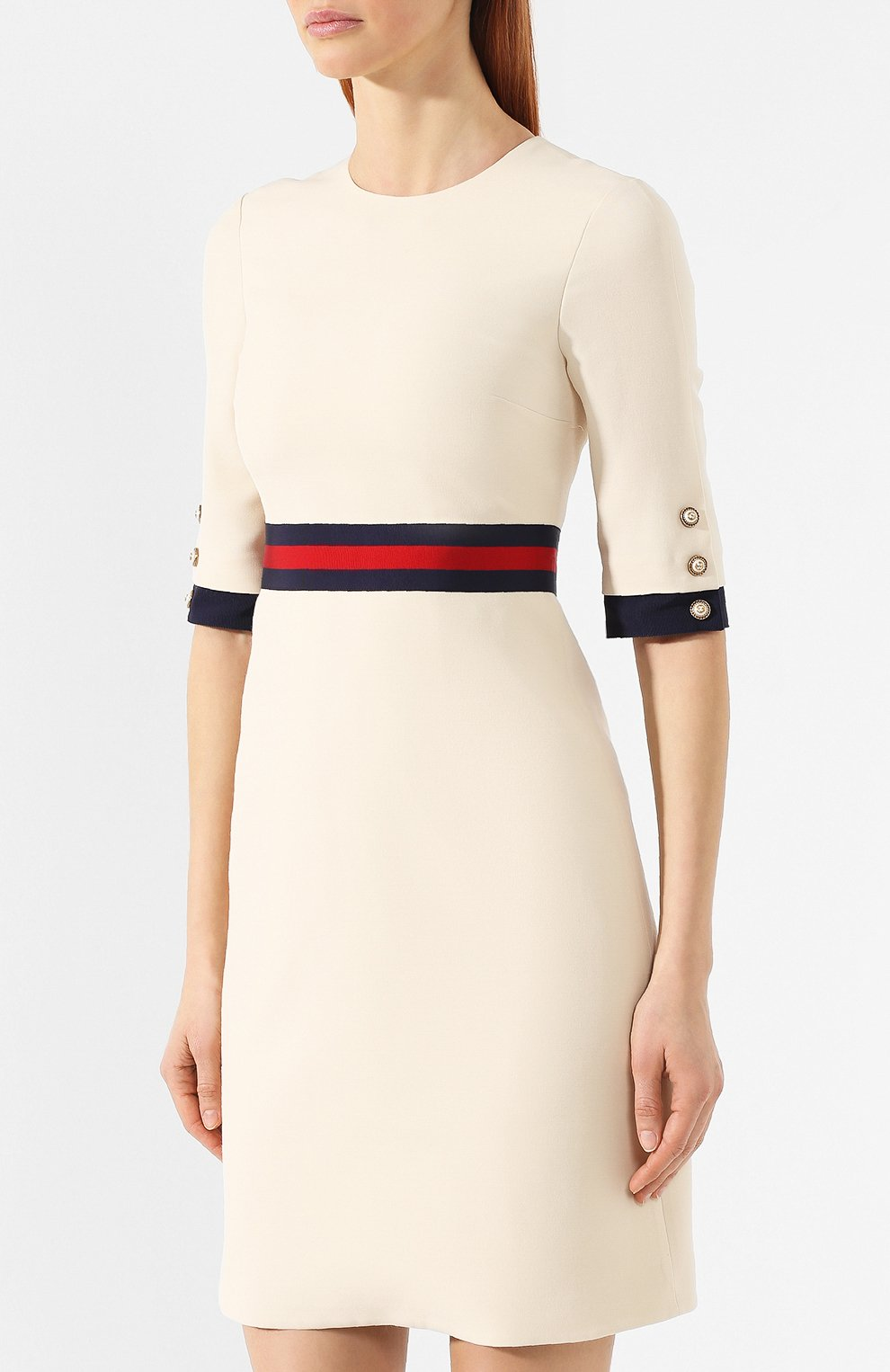 Платье из смеси шерсти и шелка Gucci белое | Фото №3