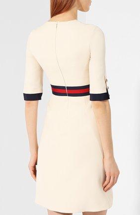 Платье из смеси шерсти и шелка Gucci белое | Фото №4