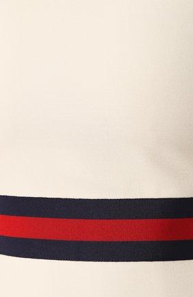 Платье из смеси шерсти и шелка Gucci белое | Фото №5