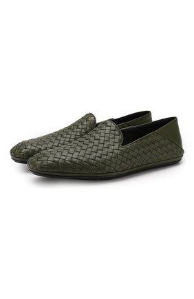 Мужские кожаные слиперы fiandra BOTTEGA VENETA темно-зеленого цвета, арт. 548279/V0013 | Фото 1