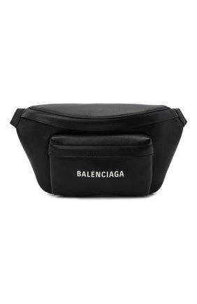 Мужская кожаная поясная сумка everyday BALENCIAGA черного цвета, арт. 552375/DLQ4N | Фото 1