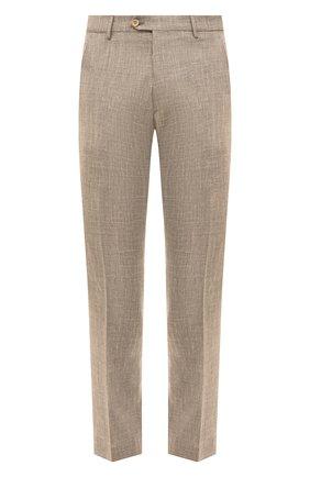 Мужские брюки из смеси шерсти и шелка ANDREA CAMPAGNA бежевого цвета, арт. ZIP/1 WHITE/LP183U | Фото 1 (Материал внешний: Шерсть; Длина (брюки, джинсы): Стандартные; Случай: Формальный; Статус проверки: Проверена категория, Проверено; Стили: Классический)