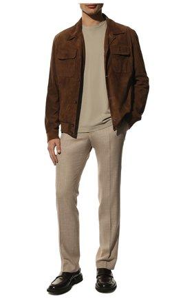 Мужские брюки из смеси шерсти и шелка ANDREA CAMPAGNA бежевого цвета, арт. ZIP/1 WHITE/LP183U | Фото 2 (Материал внешний: Шерсть; Длина (брюки, джинсы): Стандартные; Случай: Формальный; Статус проверки: Проверена категория, Проверено; Стили: Классический)