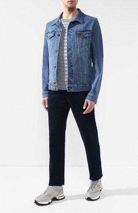 Мужская джинсовая куртка KITON голубого цвета, арт. UW0506J07R52 | Фото 2
