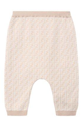 Детские брюки из хлопка и кашемира FENDI бежевого цвета, арт. BUG008/A3TE/12M-24M | Фото 1