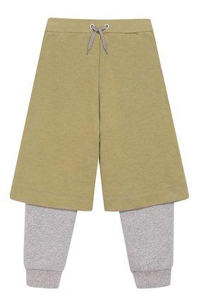 Детские хлопковые брюки FENDI хаки цвета, арт. JMF174/5V0/3A-5A | Фото 1