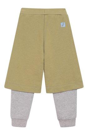Детские хлопковые брюки FENDI хаки цвета, арт. JMF174/5V0/3A-5A | Фото 2