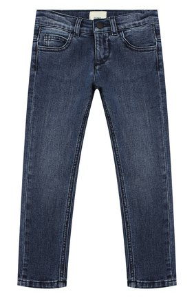 Детские джинсы с потертостями FENDI синего цвета, арт. JMF198/A6IV/10A-12A | Фото 1