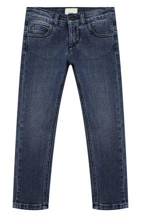 Детские джинсы с потертостями FENDI синего цвета, арт. JMF198/A6IV/3A-5A | Фото 1