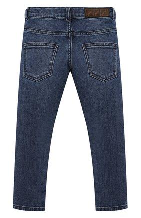 Детские джинсы с потертостями FENDI синего цвета, арт. JMF198/A6IV/3A-5A | Фото 2