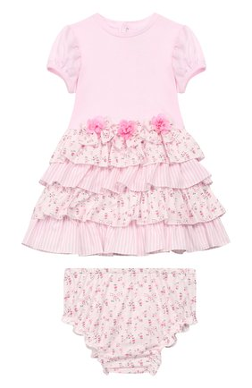 Женский комплект из хлопкового платья с шортами ALETTA розового цвета, арт. RF99475/1M-18M | Фото 1