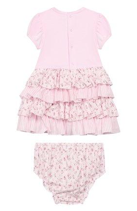 Женский комплект из хлопкового платья с шортами ALETTA розового цвета, арт. RF99475/1M-18M | Фото 2
