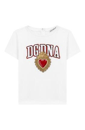 Детский хлопковая футболка DOLCE & GABBANA белого цвета, арт. L2JTCE/G7SMV | Фото 1