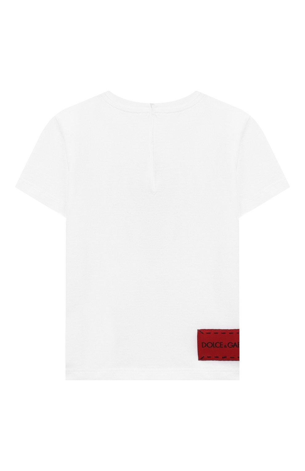 Детский хлопковая футболка DOLCE & GABBANA белого цвета, арт. L2JTCE/G7SMV | Фото 2