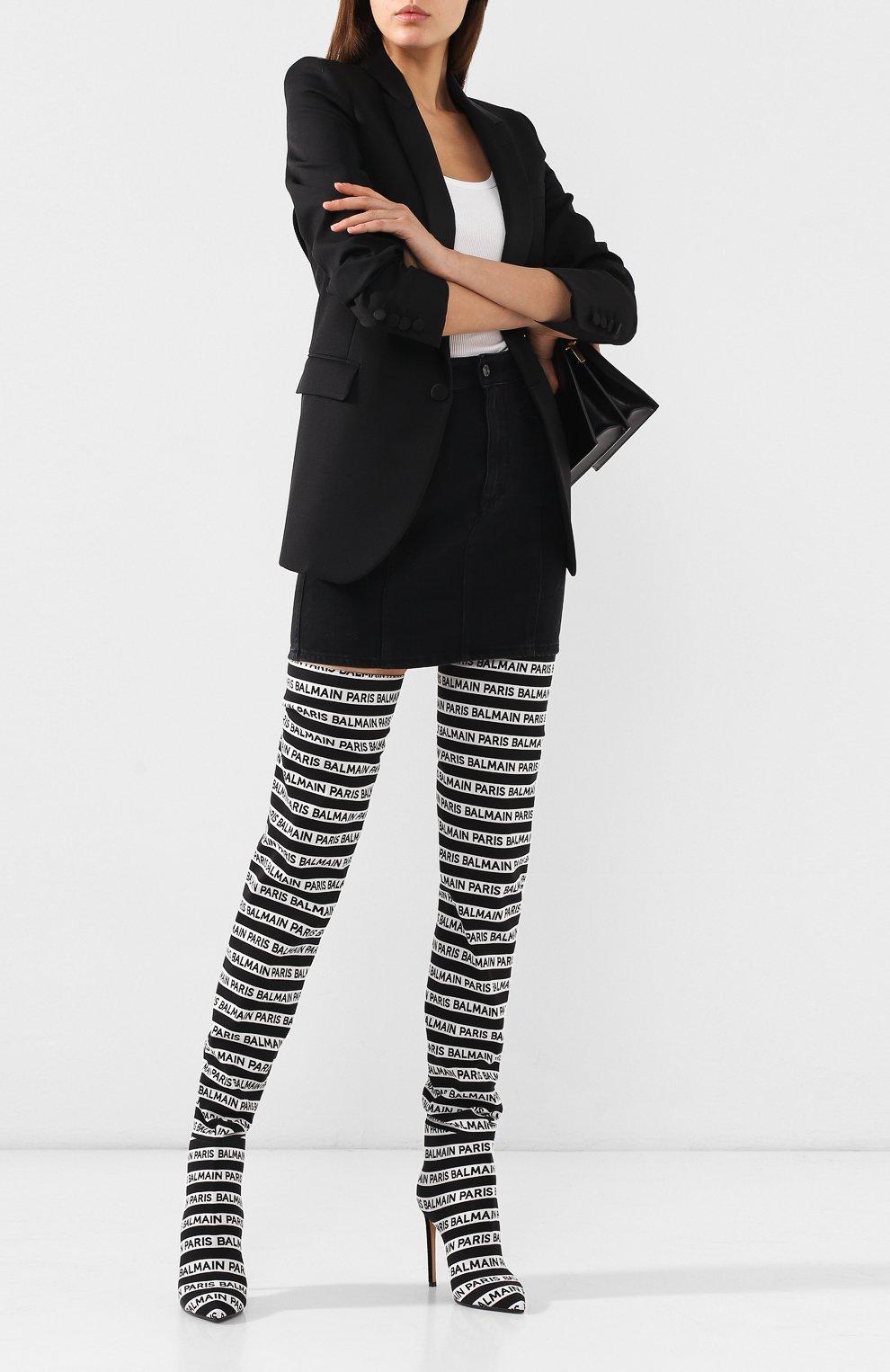 Текстильные ботфорты Janis Balmain черно-белые | Фото №2