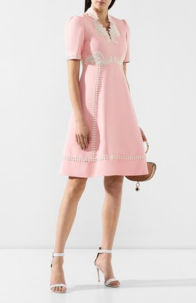 Платье из смеси шелка и шерсти Gucci розовое   Фото №2