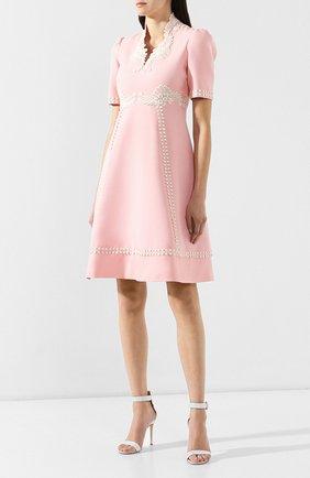 Платье из смеси шелка и шерсти Gucci розовое   Фото №3