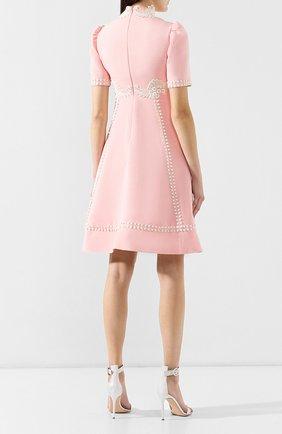 Платье из смеси шелка и шерсти Gucci розовое   Фото №4
