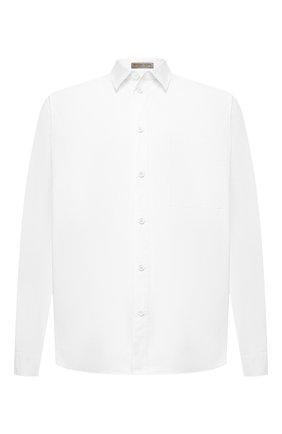 Мужская хлопковая рубашка BOTTEGA VENETA белого цвета, арт. 563076/VF1R0 | Фото 1