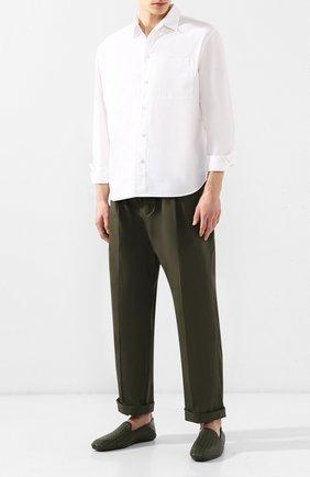 Мужская хлопковая рубашка BOTTEGA VENETA белого цвета, арт. 563076/VF1R0 | Фото 2