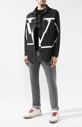 Мужские кожаные кеды SAINT LAURENT белого цвета, арт. 557624/04L20 | Фото 2