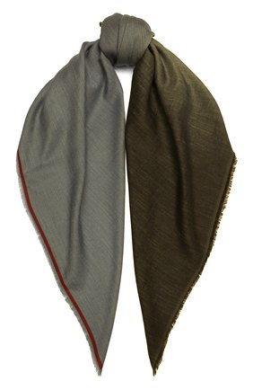 Мужской шарф из смеси кашемира и шелка LORO PIANA хаки цвета, арт. FAI5127 | Фото 1
