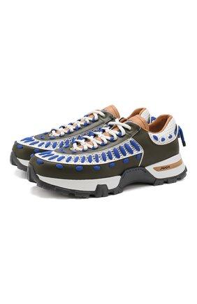 Мужские кожаные кроссовки claudio ZEGNA COUTURE синего цвета, арт. A4208X-RET | Фото 1