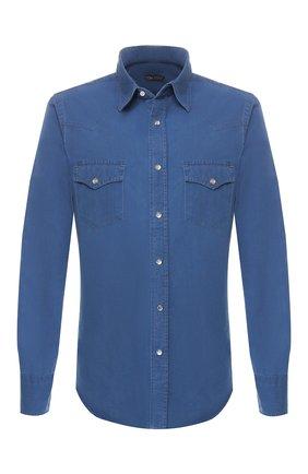 Мужская хлопковая рубашка TOM FORD синего цвета, арт. 5FT415/94MEKI | Фото 1