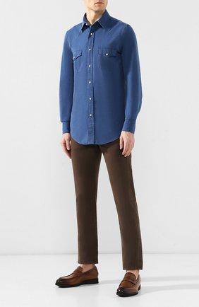 Мужская хлопковая рубашка TOM FORD синего цвета, арт. 5FT415/94MEKI | Фото 2
