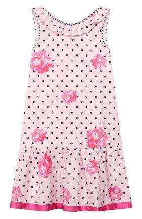 Детское хлопковое платье ALETTA розового цвета, арт. C99808/10A-14A | Фото 1