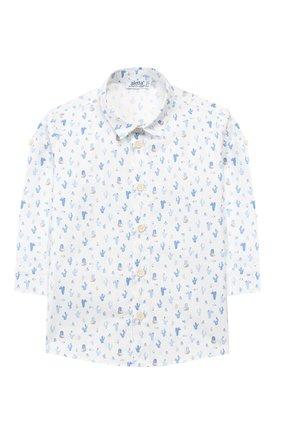 Детский хлопковая рубашка ALETTA белого цвета, арт. RJ99368/1M-18M   Фото 1 (Материал внешний: Хлопок; Рукава: Длинные; Статус проверки: Проверена категория)
