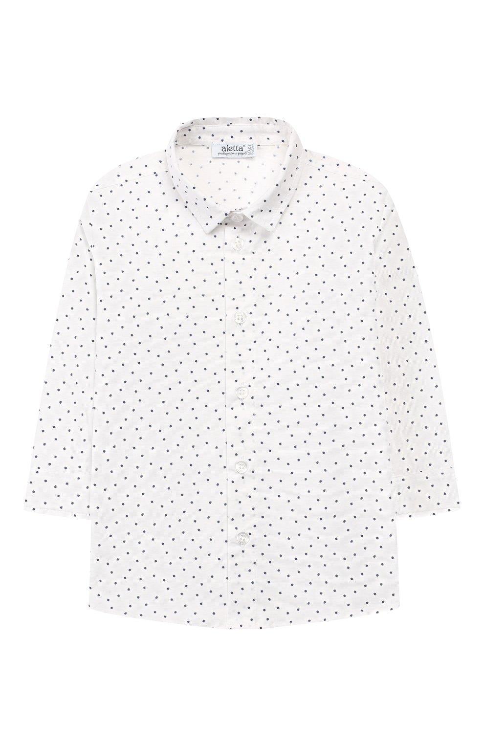 Детский хлопковая рубашка ALETTA белого цвета, арт. RJ99368/1M-18M | Фото 1