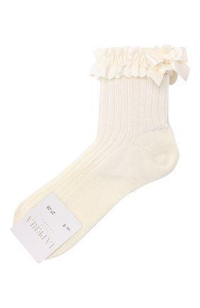 Детские хлопковые носки LA PERLA бежевого цвета, арт. 42209/4-6 | Фото 1