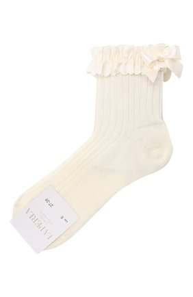 Детские хлопковые носки LA PERLA бежевого цвета, арт. 42209H | Фото 1