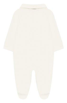 Детский хлопковый комбинезон LA PERLA бежевого цвета, арт. 50903 | Фото 2
