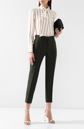 Женские хлопковые брюки BOTTEGA VENETA зеленого цвета, арт. 564707/VFZX1 | Фото 2