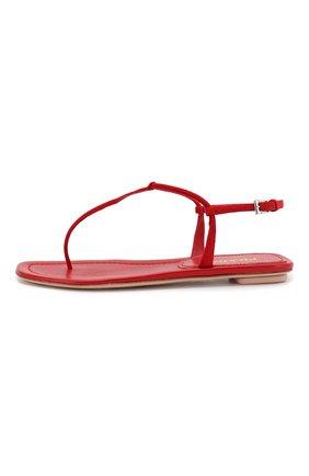 Женские кожаные сандалии PRADA красного цвета, арт. 1Y558B-008-F0011-005 | Фото 2