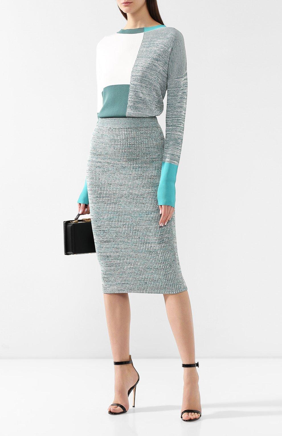 Женская юбка из смеси вискозы и хлопка BOSS зеленого цвета, арт. 50408241 | Фото 2