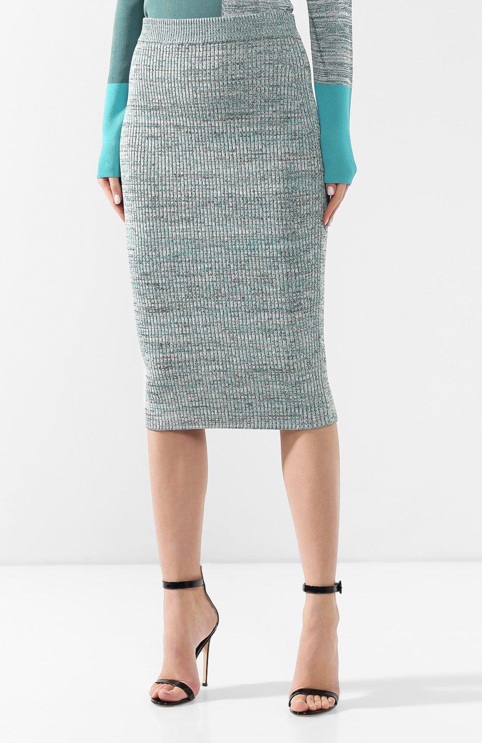Женская юбка из смеси вискозы и хлопка BOSS зеленого цвета, арт. 50408241 | Фото 3