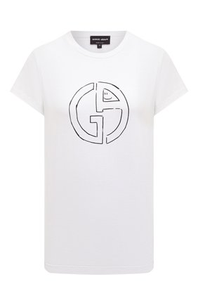 Женская футболка из вискозы GIORGIO ARMANI белого цвета, арт. 3GAM60/AJP4Z | Фото 1 (Длина (для топов): Стандартные; Рукава: Короткие; Стили: Кэжуэл; Материал внешний: Вискоза; Статус проверки: Проверена категория; Женское Кросс-КТ: Футболка-одежда; Принт: С принтом)