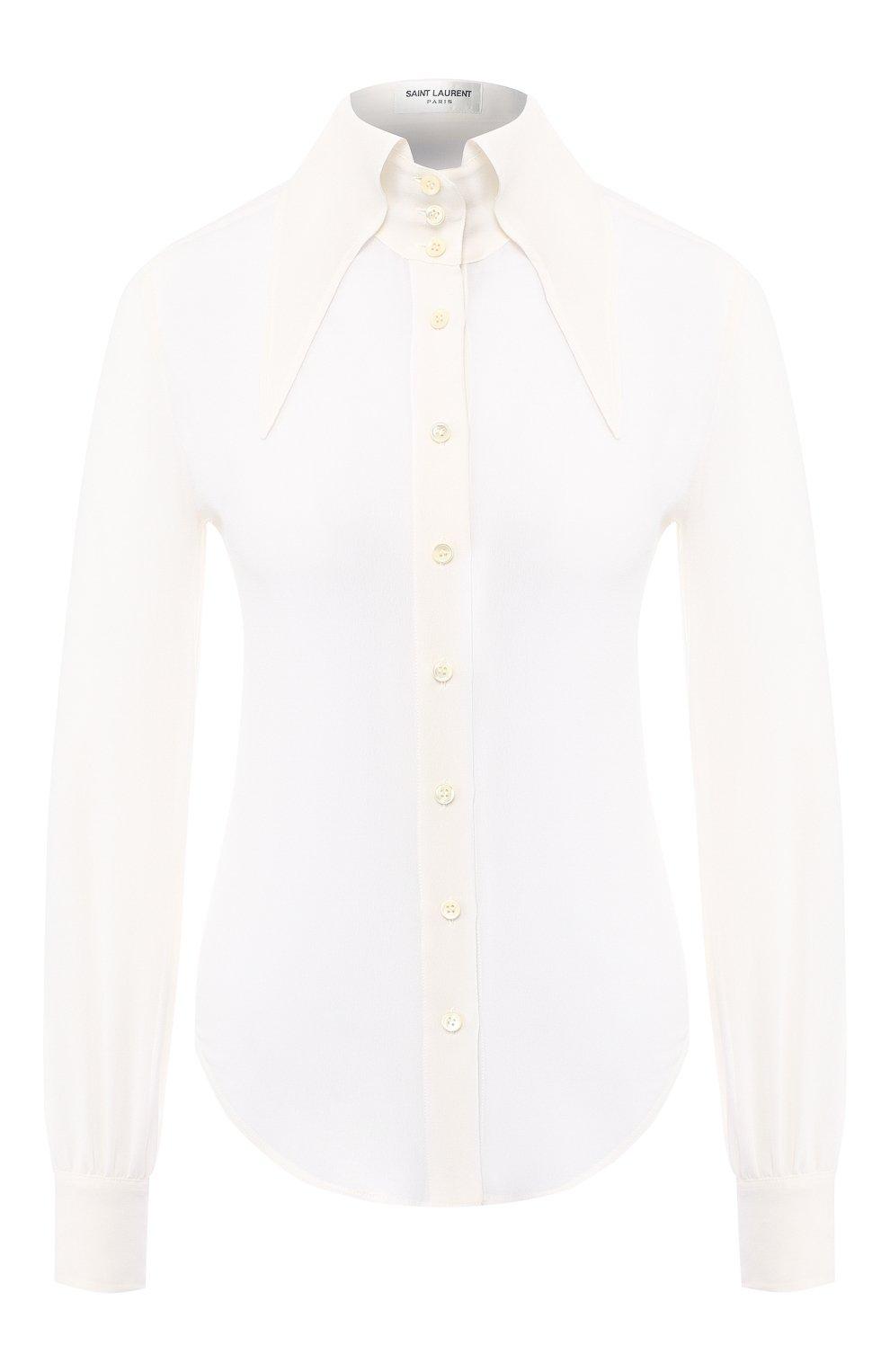 Женская шелковая рубашка SAINT LAURENT белого цвета, арт. 568623/Y059R | Фото 1