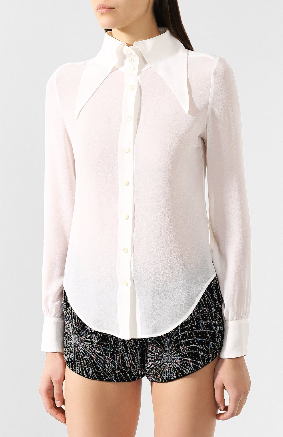 Женская шелковая рубашка SAINT LAURENT белого цвета, арт. 568623/Y059R | Фото 3